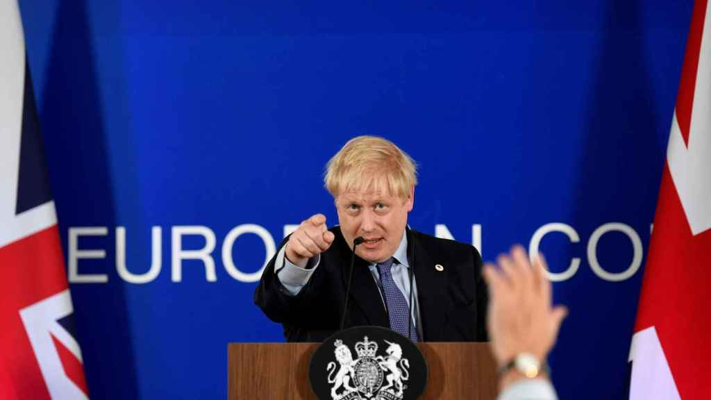 Boris Johnson, durante la rueda de prensa este jueves tras el acuerdo del 'brexit'