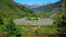Los restos de uno de los dólmenes hallados en el Pirineo de Huesca.