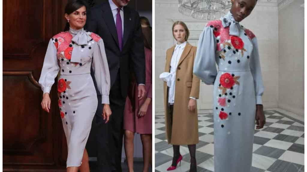 La Reina junto a un modelo de su vestido de Pertegaz.