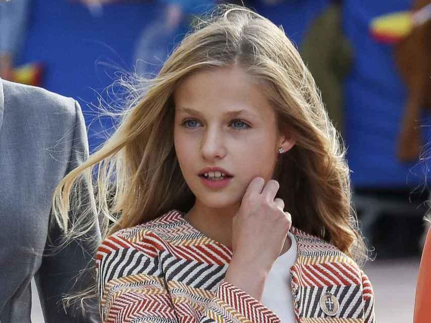 Leonor este pasado jueves a su llegada a Oviedo.