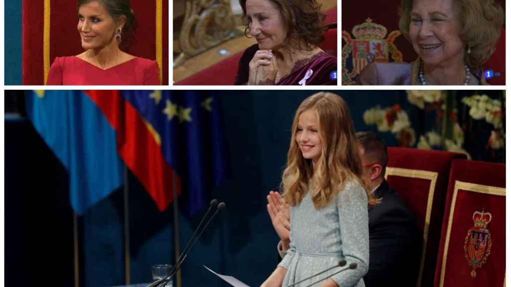 La princesa Leonor durante su discurso ante la atenta mirada de Letizia, la reina Sofía y Paloma Rocasolano.