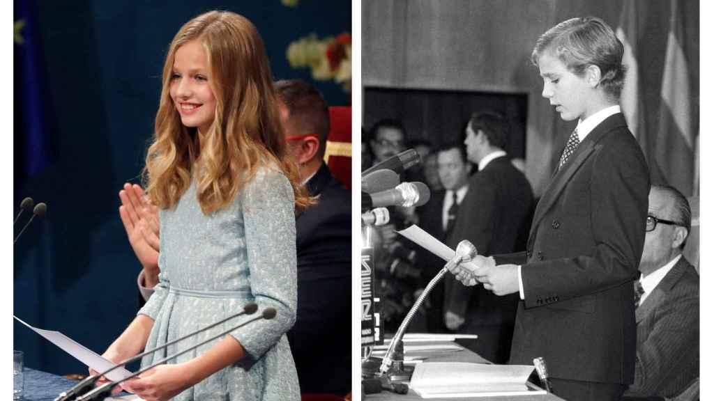 La Princesa  Leonor y el rey Felipe VI cuando debutaron en los Premios Princesa de Asturias.