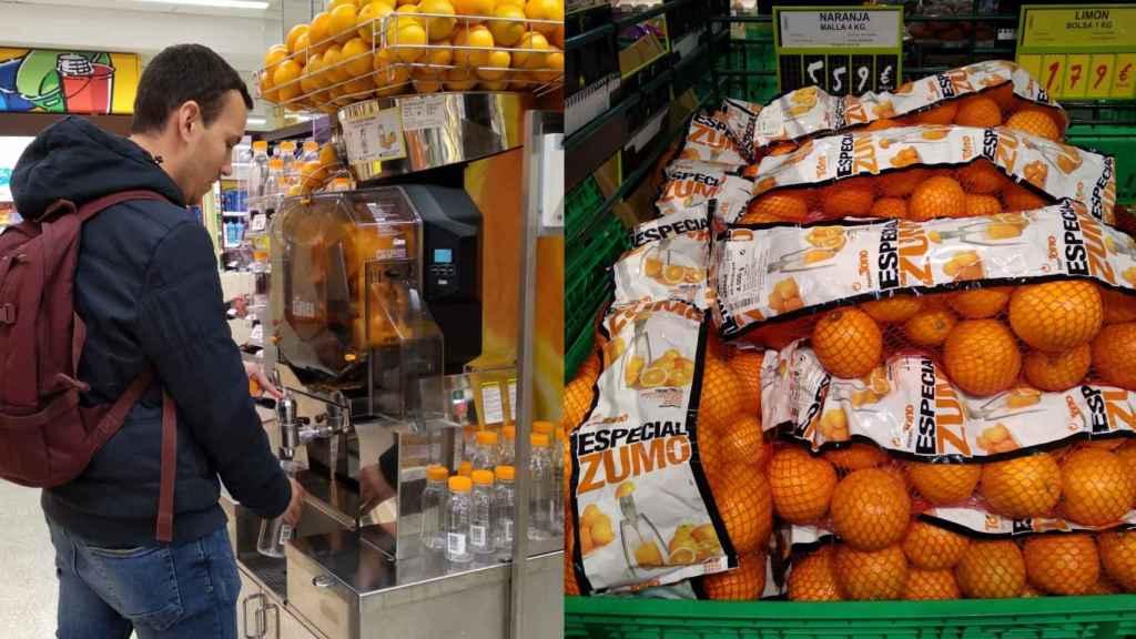 Máquina de zumo del ahorra más y naranjas a granel.