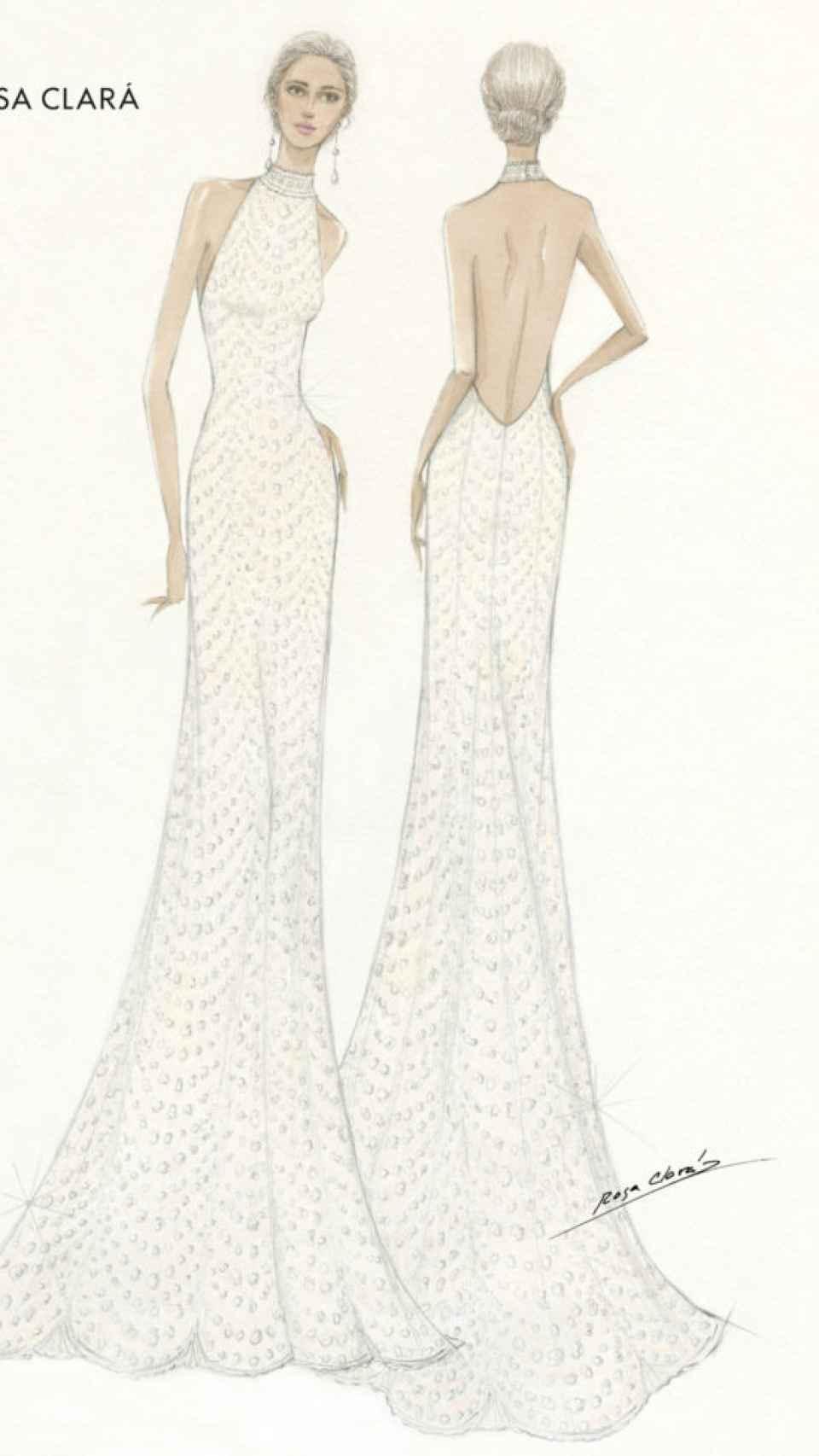 Segundo vestido de novia de Xisca Perelló diseñado por Rosa Clará.