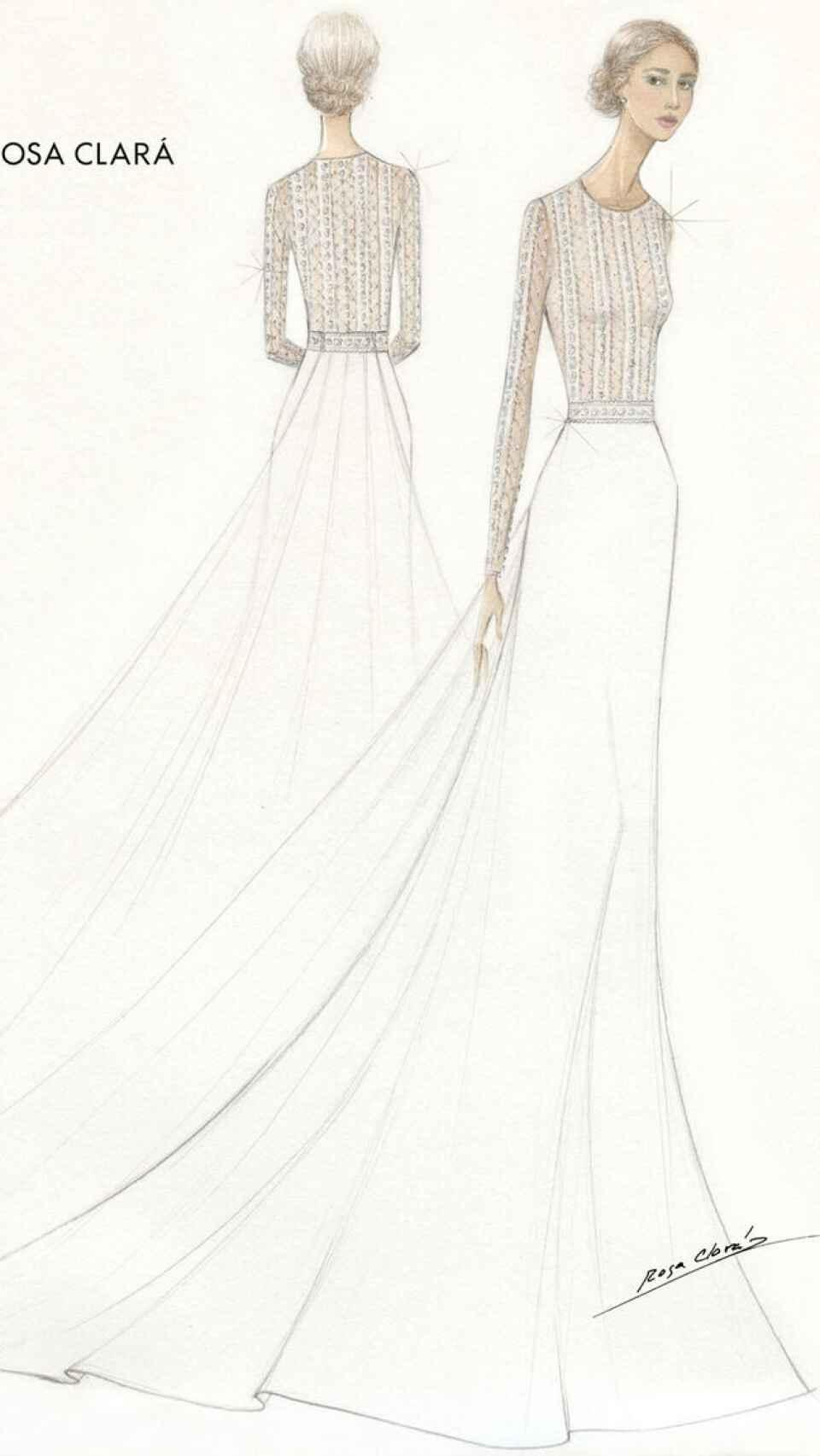 Boceto del primer vestido de novia de Xisca Perelló.