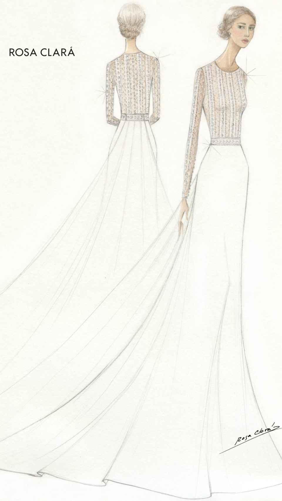 Boceto del vestido de novia de Xisca Perelló.
