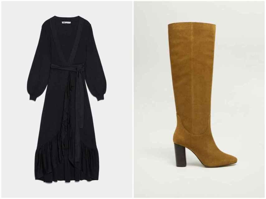 Vestido de Zara y botas de Mango.
