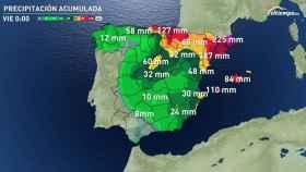 Previsión de precipitaciones acumuladas a lo largo de la semana según eltiempo.es.