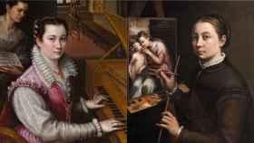 'Autorretrato tocando la espineta', de Lavinia Fontana, y 'Autorretrato ante el caballete', de Sofonisba Anguissola.