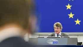 El presidente de la Eurocámara, David Sassoli, durante la apertura del pleno este lunes en Estrasburgo