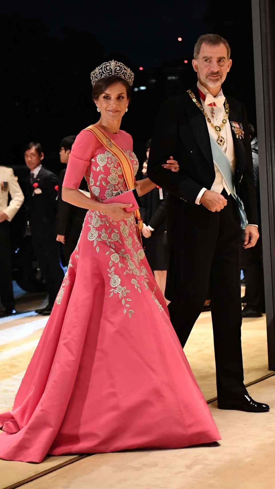 Felipe VI y Letizia en el Palacio Imperial de Tokio (Japón).