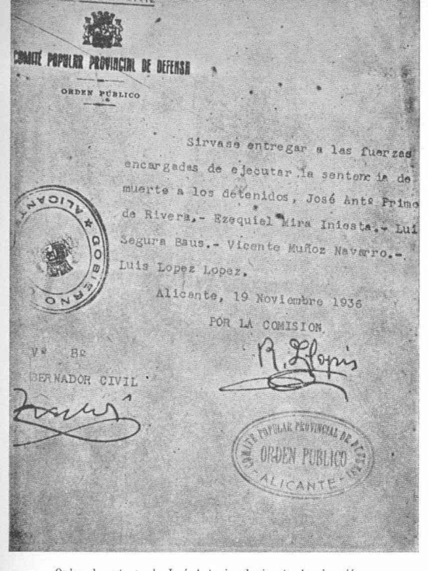 Orden de ejecución de José Antonio.