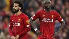 Mohamed Salah y Sadio Mané, en un partido
