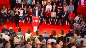 Pedro Sánchez, líder del PSOE, en un mitin en Cádiz este martes.