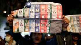 Partidarios de Mesa, durante las protestas en Bolivia.