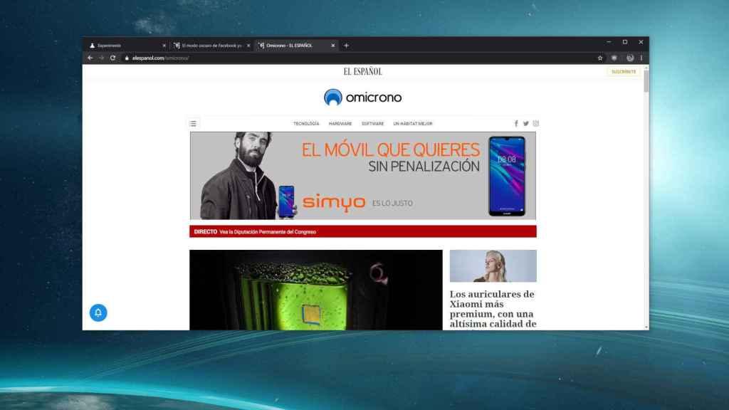Chrome mostrando publicidad en Omicrono