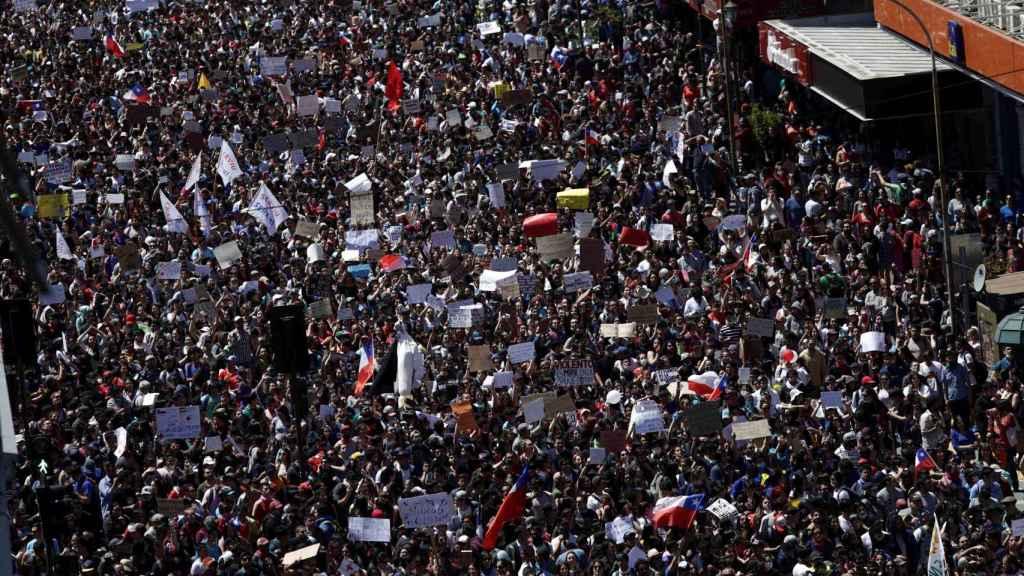 Protestas en Chile realizadas en Santiago durante esta semana.