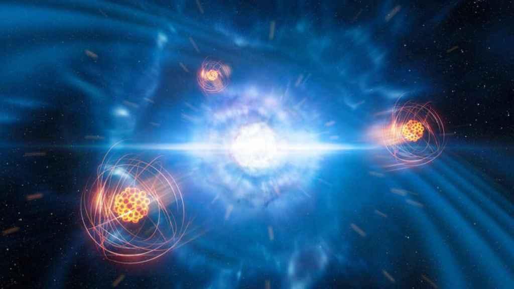 Representación artística del estroncio emergiendo de una fusión de estrellas de neutrones.