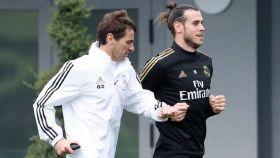 Dupont y Bale, en un entrenamiento del Real Madrid