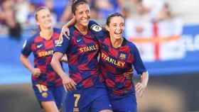 Jenni Hermoso y Aitana Bonmatí, en un partido del Barcelona femenino