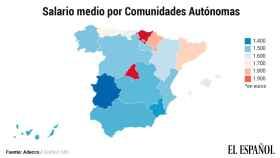 El mapa de los salarios en España.