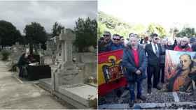 A la izquierda, el interior del cementerio de Mingorrubio; a la derecha, el exterior del camposanto, este jueves.
