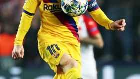 Messi, en un momento del partido ante el Slavia de Praga