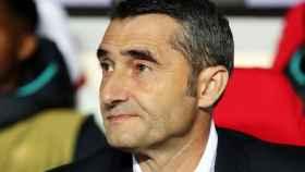 Ernesto Valverde en el partido ante el Slavia