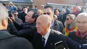 El golpista Antonio Tejero, a su llegada al cementerio de El Pardo.