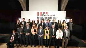 Los líderes de las formaciones nacionalistas, entre ellos Arnaldo Otegi, que han firmado el manifiesto.