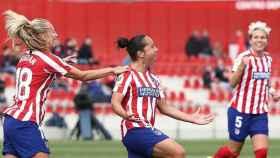 Charlyn Corral, en un partido del Atlético de Madrid femenino