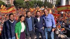 Los dirigentes de Vox Ignacio Garriga, Rocío Monasterio, Iván Espinosa de los Monteros, Santiago Abascal y Javier Ortega Smith, este sábado en Colón.