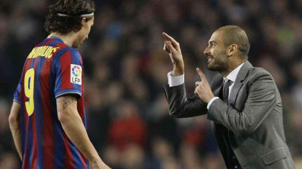 Ibrahimovic y Guardiola, en el Barcelona