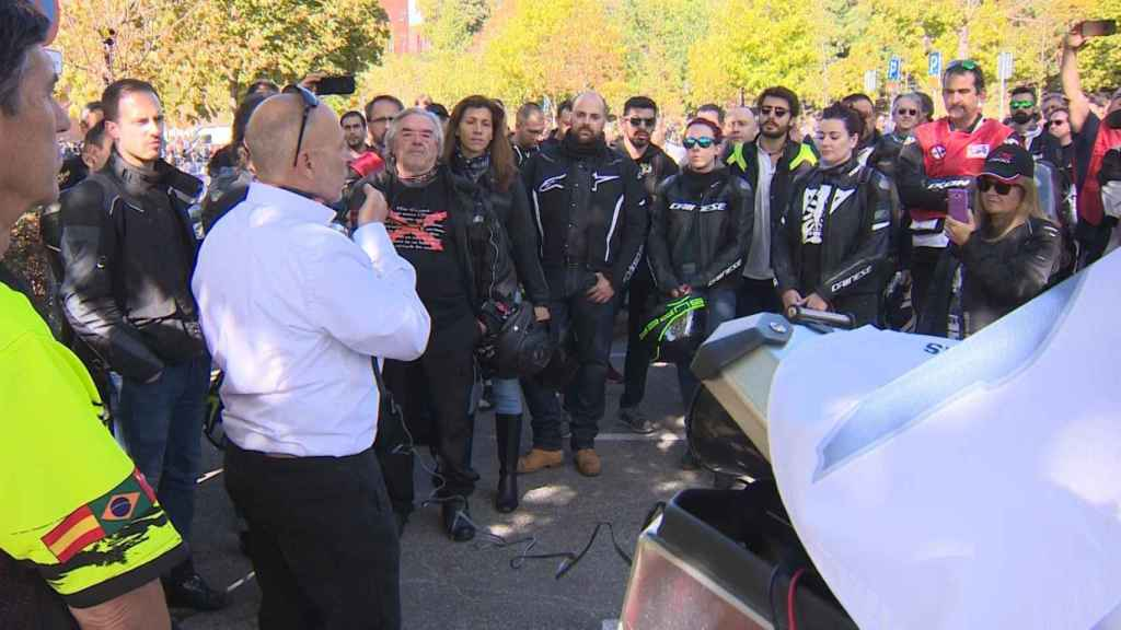 Manifestación en Madrid de la Unión Internacional para la Defensa de los Motociclistas (IMU) contra los guardarraíles sin protección el pasado mes de octubre.