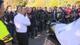 Manifestación en Madrid de la Unión Internacional para la Defensa de los Motociclistas (IMU) contra los guardarraíles sin protección.
