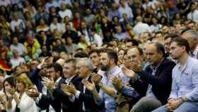 Santiago Abascal, José Antonio Ortega Lara, junto a otros dirigentes de Vox en Murcia.