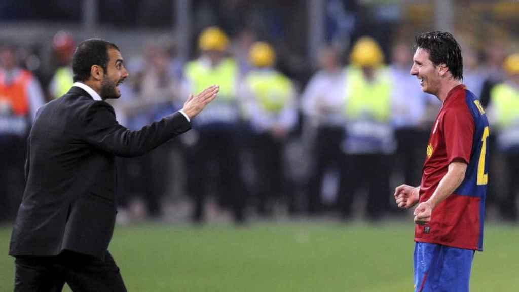 Guardiola junto a Leo Messi