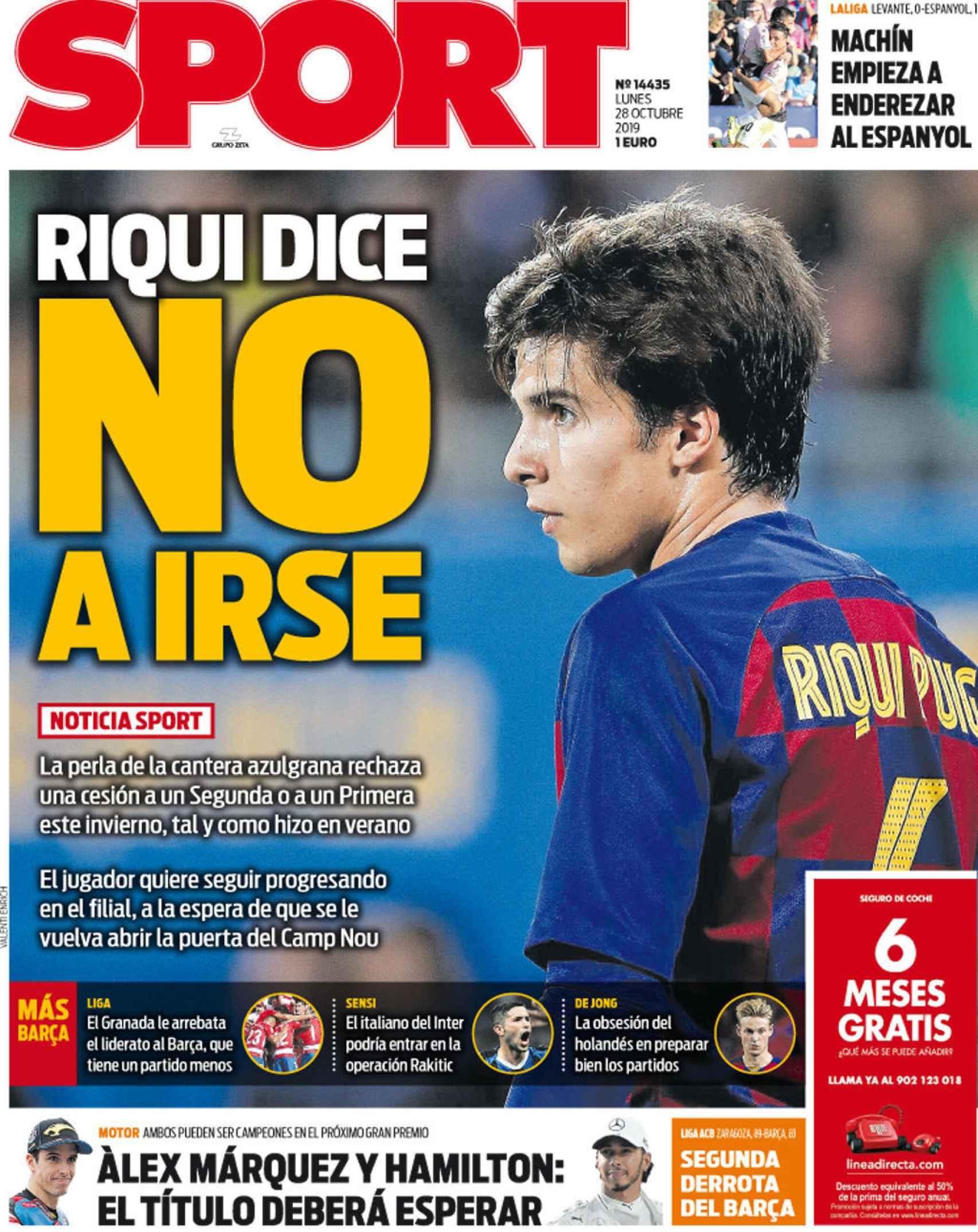 La portada del diario Sport (28/10/2019)