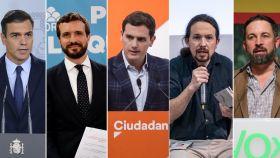 Pedro Sánchez (PSOE), Pablo Casado (PP), Albert Rivera (Cs), Pablo Iglesias (Podemos) y Santiago Abascal (Vox).