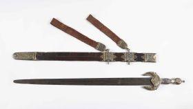 La espada jineta de San Telmo tras ser restaurada.