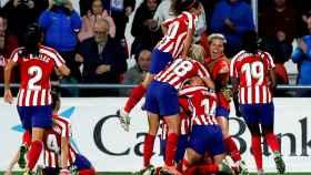 Jugadoras el Atlético de Madrid celebrando contra el Manchester City.