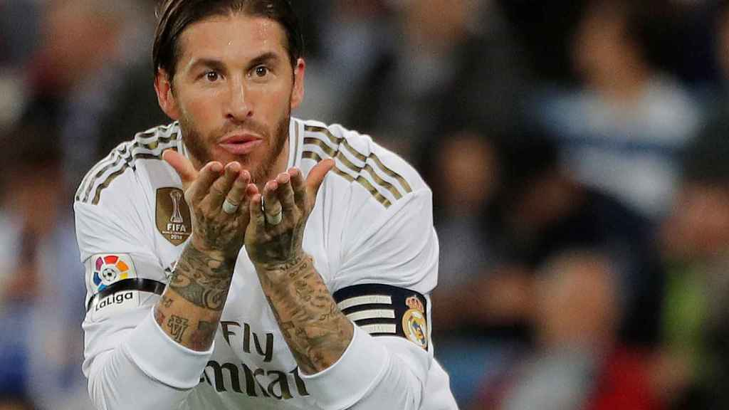 Sergio Ramos celebra su gol de penalti al Leganés