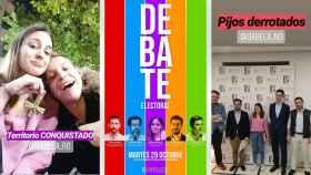 Sabela Rodríguez (Podemos) con el crucifijo dado la vuelta, tras el debate en el Colegio Mayor Moncloa, de Madrid.
