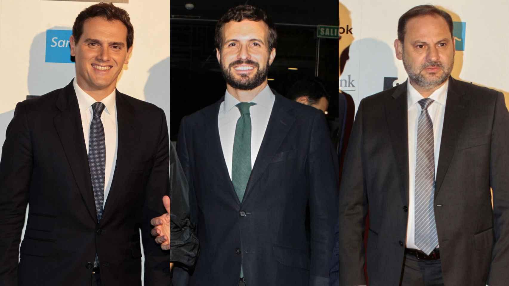 Rivera, Casado y Ábalos en los premios Los Leones de EL ESPAÑOL.