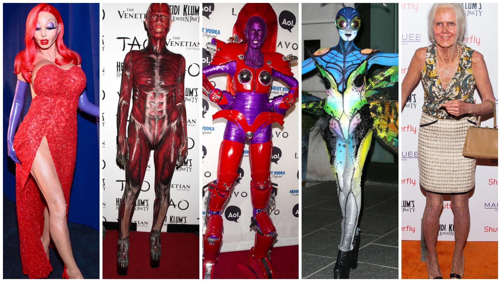 Algunos de los disfraces de Heidi Klum en un montaje de JALEOS.