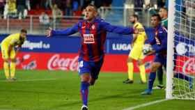 Orellana celebra el gol del Eibar ante el Villarreal en La Liga