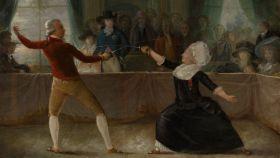 Cuadro de Alexandre-Auguste Robineau que retrata un duelo de esgrima entre del caballero d'Eon, vestido de mujer.