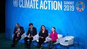 Greta Thunberg durante un charla previa a la Cumbre del Clima.