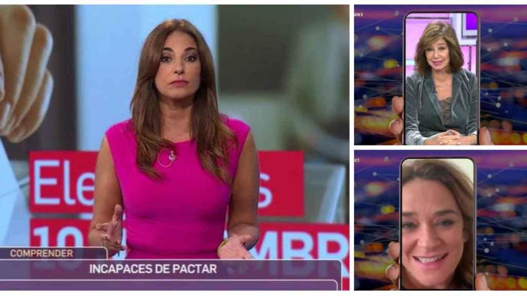 Mariló Montero durante su estreno en Canal Sur junto a las felicitaciones de Ana Rosa y Toñi Moreno.