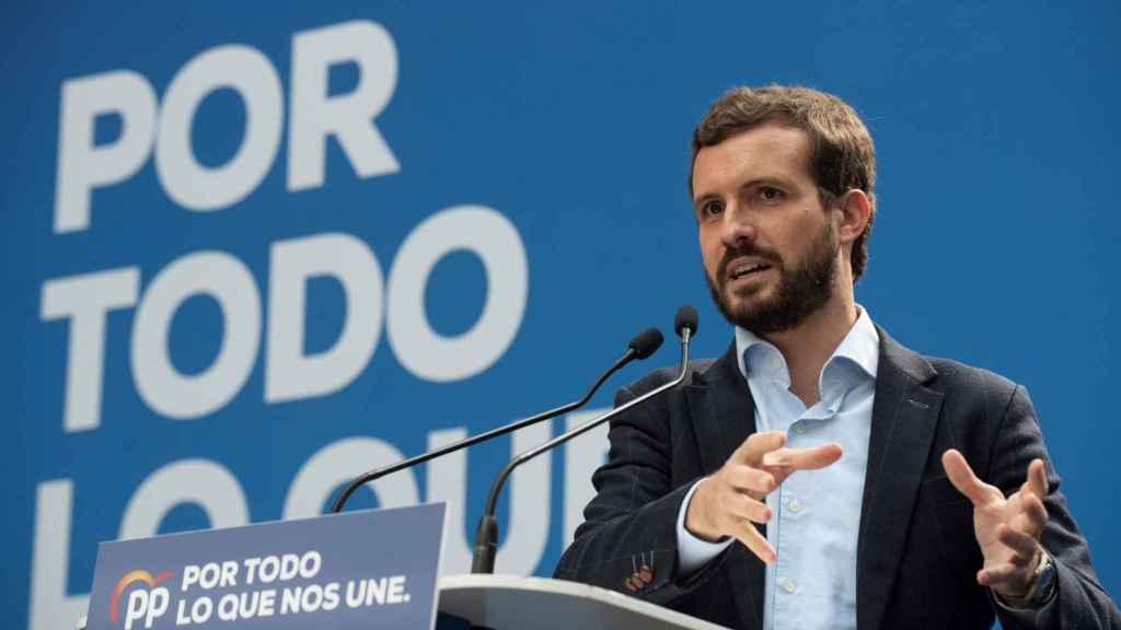 Pablo Casado, presidente del PP, en su primer día de campaña.